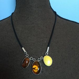 .925 Sterling & Leather Amber Necklace